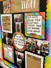 A project-based learning board in teacher Emily Vann's