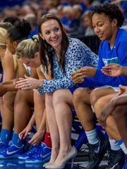 Former FGCU point guard Chelsea (Dermyer) Banbury is in her ninth season as an Eagles assistant and is now the associate head coach.