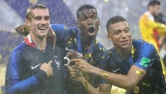 France's Antoine Griezmann Paul Pogba and Kylian Mbappe