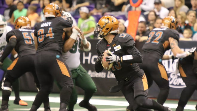Rattlers quarterback Jeff Ziemba looks to pass during Saturday's game against Green Bay.