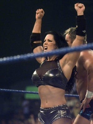 Chyna performs during a brief appearance at Rochester's Blue Cross Arena on Tuesday Oct. 31 2000.
