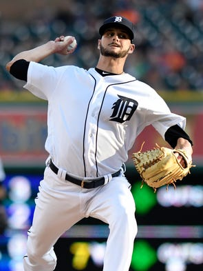 Detroit Tigers starting pitcher Myles Jaye delivers