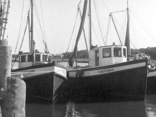 Shown are shrimp boats docked in St. Augustine in 1946.