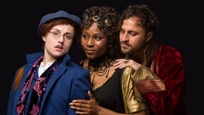 """From left, Marina Shay, Ginneh Thomas and Charles Pasternak. The Alabama Shakespeare Festival presents William Shakespeare's """"Twelfth Night"""" comedy April 20-May 5, 2018."""