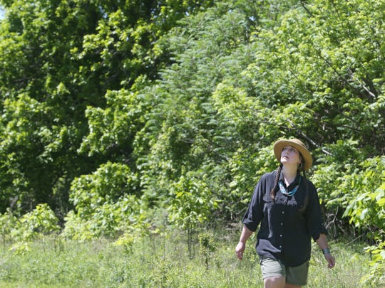 Christina Kretchmer walks along trails she has mowed