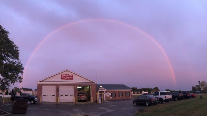 The rainbow circled places like the Frenchtown Township fire station number 3.
