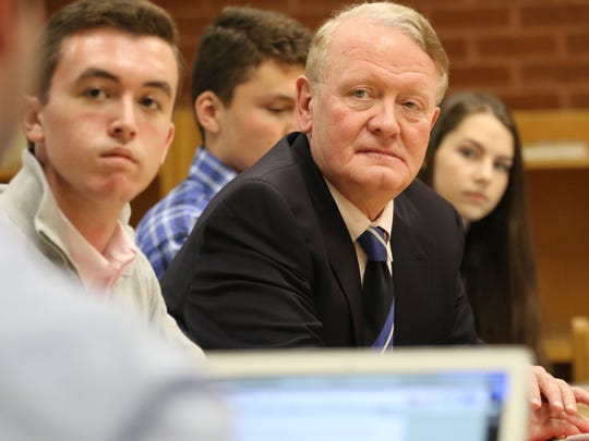 U.S. Rep. Leonard Lance listens to a question during a talk with students at Millburn High School on Monday, Oct. 30, 2017.