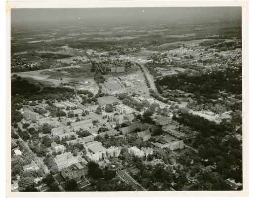 This aerial photo looking west at the FSU campus in 1958 shows the Lincoln Academy, which was the forerunner of Tallahassee's longtime Lincoln High School for blacks. Lincoln Academy is the second building to the right of the circular fountain at Westcott Hall in the lower portion of the photo. The building, with a small cupola on top, was constructed in 1876 and remained on the FSU campus until 1965.