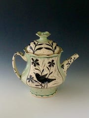 """Pitcher by Renee Schwaller, whose Off the Wheel Pottery is a site on the """"Women Walking on Water"""" art crawl in Egg Harbor."""