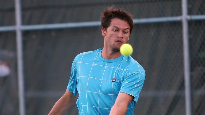 Wyatt Lippert competes in the Mens Met at Lunken Tennis Courts.