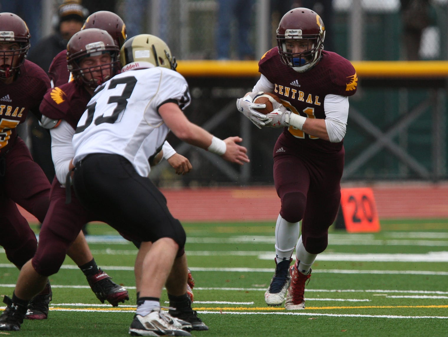 Central running back Mike Bickford, shown running against Southern last Thanksgiving Day, will lead the Golden Eagles against Southern Friday night at Southern in the season-opener for both teams