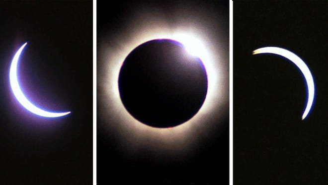 This picture combination shows the stages of the solar eclipse over the Mandelbach valley near Saarbruecken, western Germany, Wednesday, Aug. 11, 1999.  The chronological order begins at left and culminates in the total eclipse on the picture in center. Photos were taken with a 600 mm lens.
