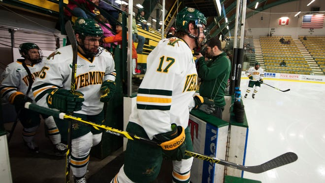 Catamounts forward Jake Fallon (17) takes the ice for warm ups before the start of the Hockey East quarterfinal men's hockey game between the Maine Black Bears and the Vermont Catamounts at Gutterson Fieldhouse earlier this month.