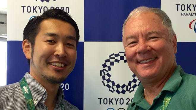 Tatsuo Ogura, left, senior manager of the international communications team for the organizing committee of the 2020 Tokyo Olympics, and IndyStar reporter David Woods.