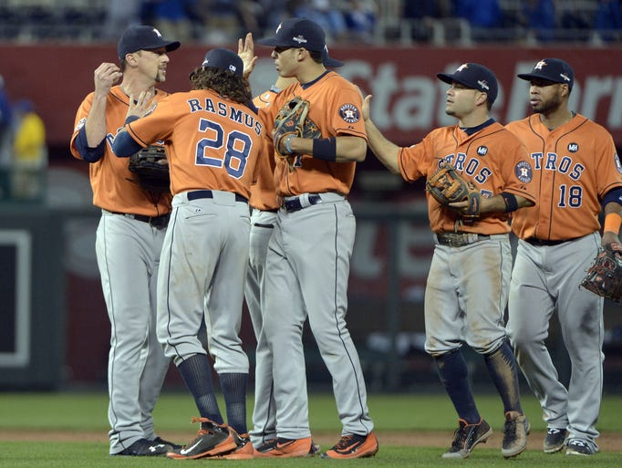 Game 1 in Kansas City: Astros players celebrate after