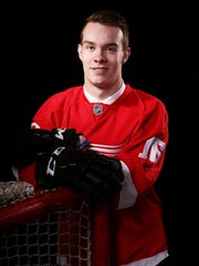 Jordan Sambrook poses for a portrait after being selected 137th overall by the Detroit Red Wings during the 2016 NHL Draft on June 25, 2016 in Buffalo, New York.