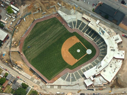 In addition to last minute construction, the outfield of Sovereign Bank Stadium is being worked on in this aerial photograph on the day before the York Revolution's home opener on Thursday afternoon, June 14, 2007. YORK DAILY RECORD/SUNDAY NEWS--JASON PLOTKIN