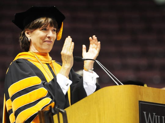 William Paterson University President Kathleen Waldron during an introduction speech at the commencement ceremonies in 2012.