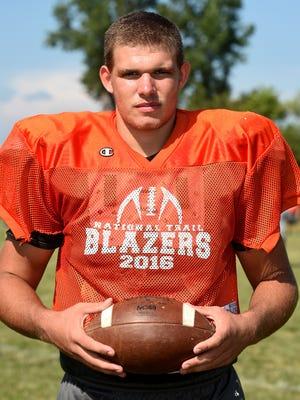 National Trail High School football  player Ben Sullivan Thursday, Aug. 18, 2016 in New Paris, Ohio.