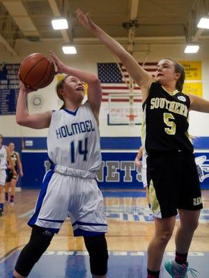 Southern Regional vs Holmdel in SCT Girls Basketball Tournament on  February, 19, 2015.  Peter Ackerman/Staff Photographer