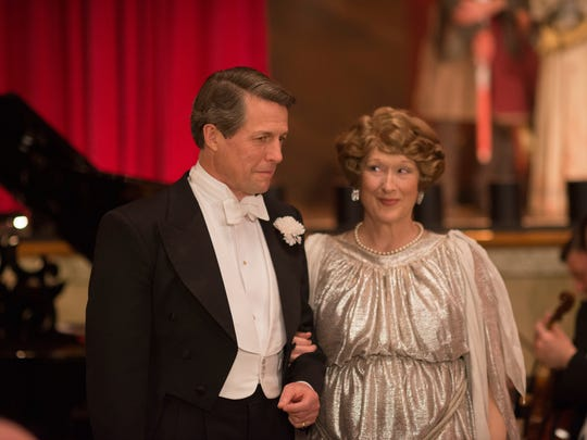 "This image released by Paramount Pictures shows  Hugh Grant as St Clair Bayfield, left, and Meryl Streep as Florence Foster Jenkins in, ""Florence Foster Jenkins."" (Nick Wall/Paramount Pictures, Pathé and BBC Films via AP)"
