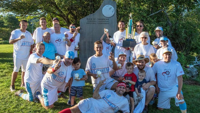 Williston-based HOTDAM won this year's championship at the 16th annual Travis Roy Foundation Wiffle Ball Tournament in Essex.