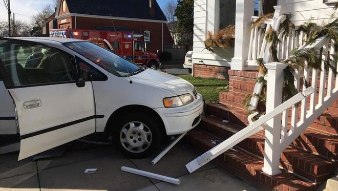 A white Honda Odyssey crashed into Heirloom restaurant in Lewes, Dec. 19 around noon, police said.
