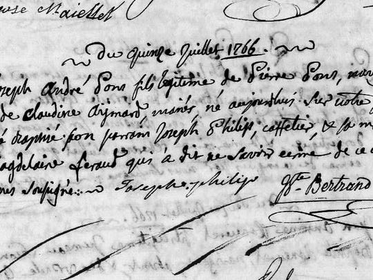 The baptismal certificate of Joseph André Pons, sent to the author by David Quénéhervé of France.