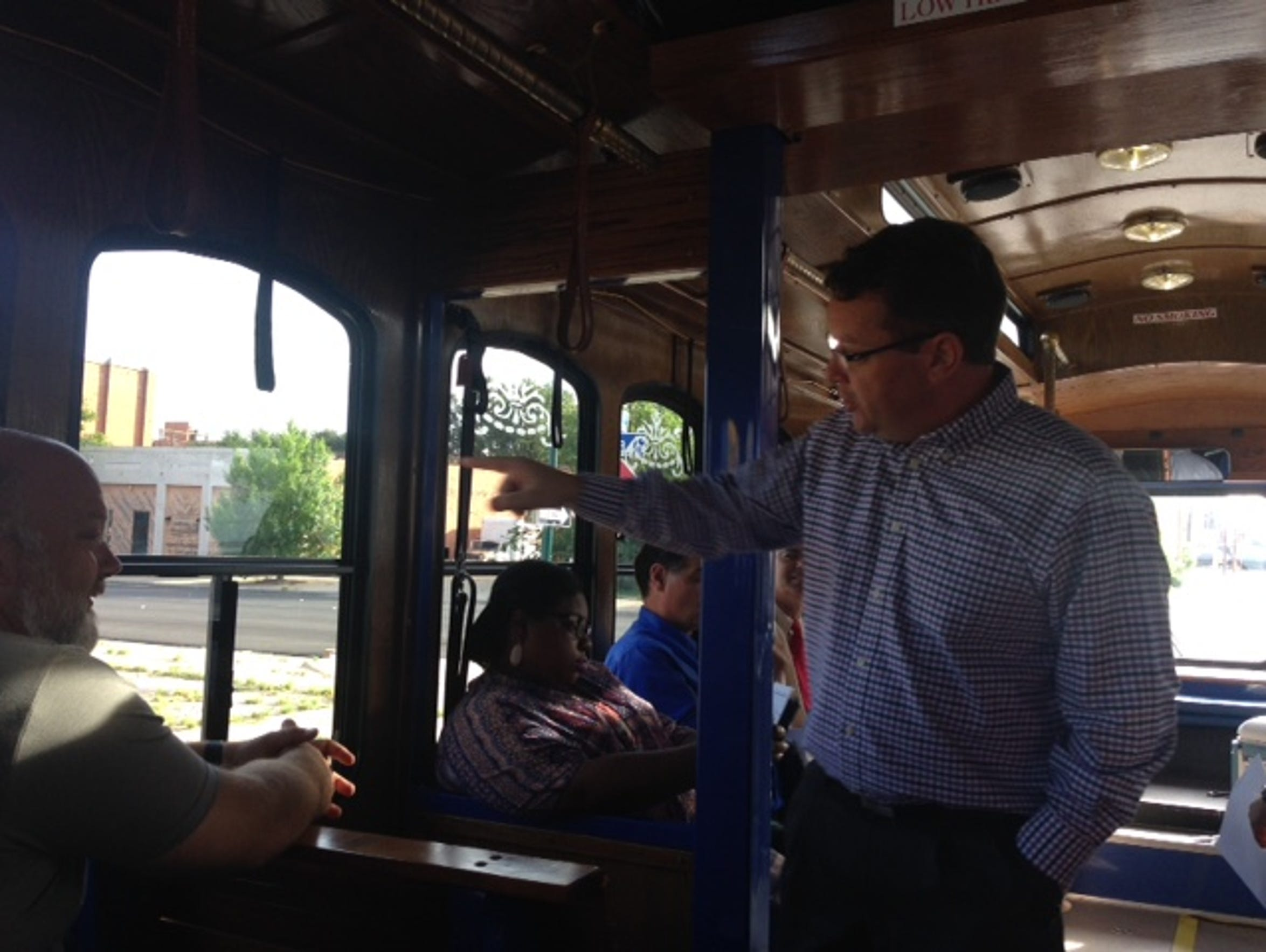 Danny Ahearn talks Thursday during a trolley tour of