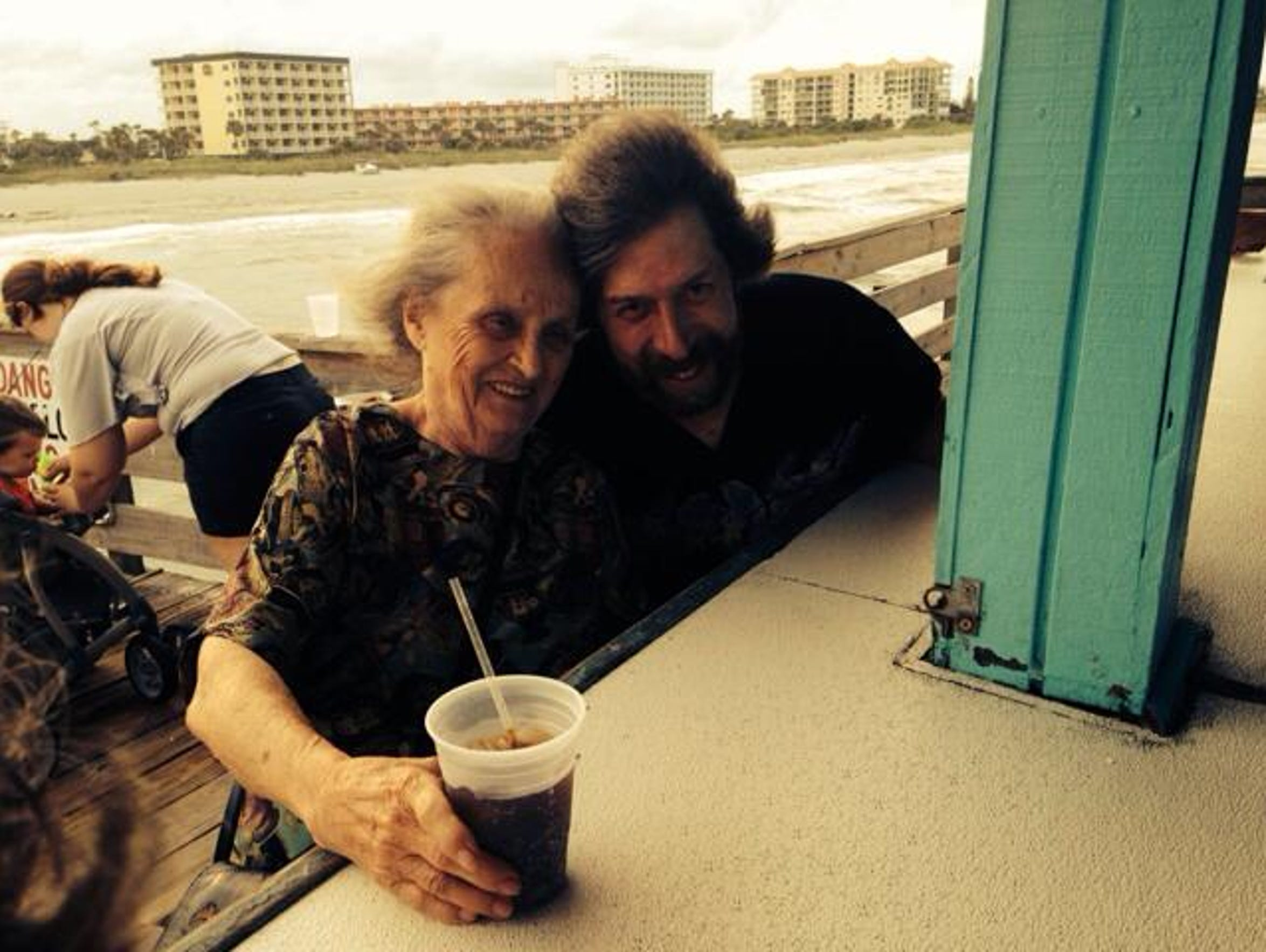 Helen Harney, mother of FLORIDA TODAY journalist Britt Kennerly,  at Cocoa Beach with her son-in-law, Doug Kennerly.