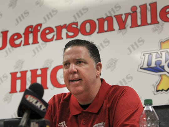 Joe Luce is introduced as the new basketball coach at Jeffersonville High School, May 7, 2015
