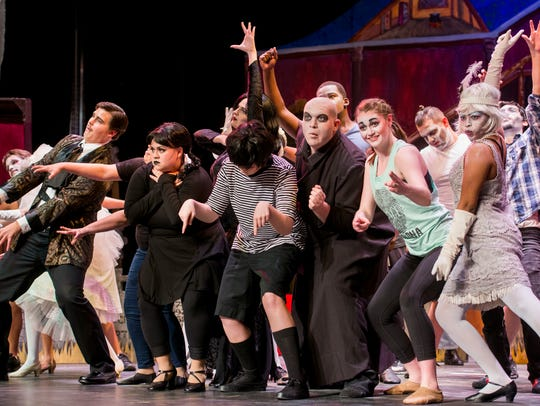 The cast performs during rehearsal of The Addams Family
