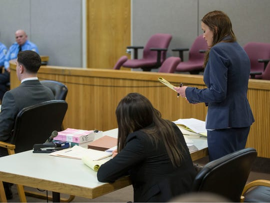 Proceedings for the trial of Raquel Garajau and Joseph Villani in the murder of Trupal Patel take place at Monmouth County Superior Court.  Assistant Prosecutor Melanie Falco states her case.  Freehold, NJ Wednesday, November 29, 2017 @dhoodhood