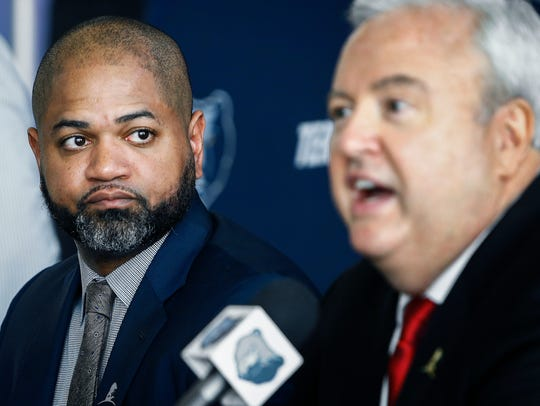 Memphis Grizzlies head coach J.B. Bickerstaff, left, was fired yesterday, while GM Chris Wallace, right, was demoted.