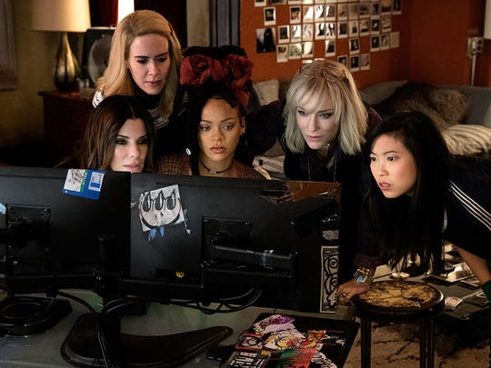 "Sandra Bullock, Cate Blanchett, Sarah Paulson, Rihanna, and Awkwafina in ""Ocean's 8."" (Barry Wetcher/Warner Bros. Entertainment/TNS)"