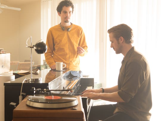 Director Damien Chazelle (left) and Ryan Gosling on