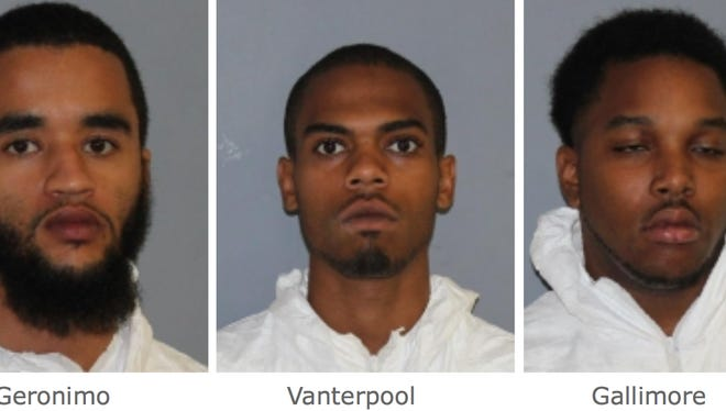 From left to right, Jeffrey Geronimo, 25; Kerry Vanderpool, 25; and Rascarmi Gallimore, 23, were arrested and charged with robbery in connection with the bank robbery at a Chase Bank, at 704 Freedom Plains Road in LaGrange, around 4 p.m. Thursday, state police said.