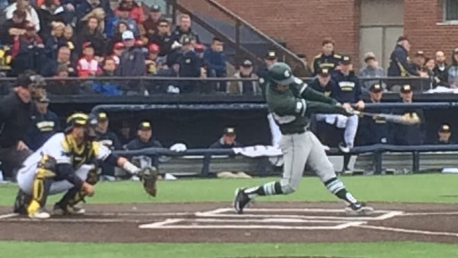 MSU's Zack McGuire has an RBI double in the 6th inning on Sunday.