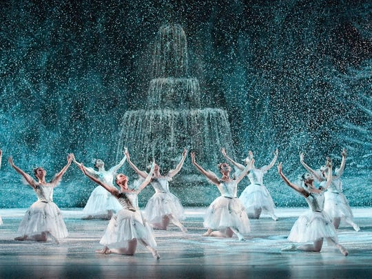 "Louisville Ballet's production of ""The Nutcracker"" features a snow scene with a view of the  St. James Court Fountain."