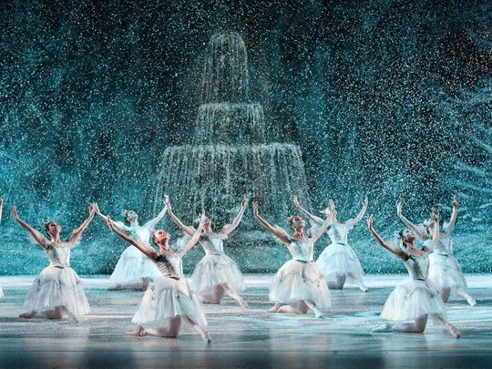 "Courtesy Louisville Ballet Louisville Ballet?s production of ?The Nutcracker? features a snow scene with a view of the St. James Court Fountain. Louisville Ballet's production of ""The Nutcracker"" features a snow scene with a view of the  St. James Court Fountain."