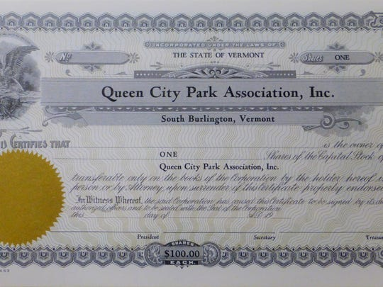Sample stock certificate of the Queen City Park Association. Queen City Park Association Records, 1880 – 1951.