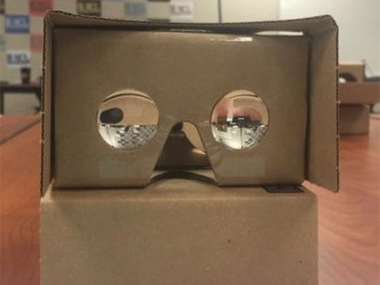 These cardboard glasses are used with the virtual reality