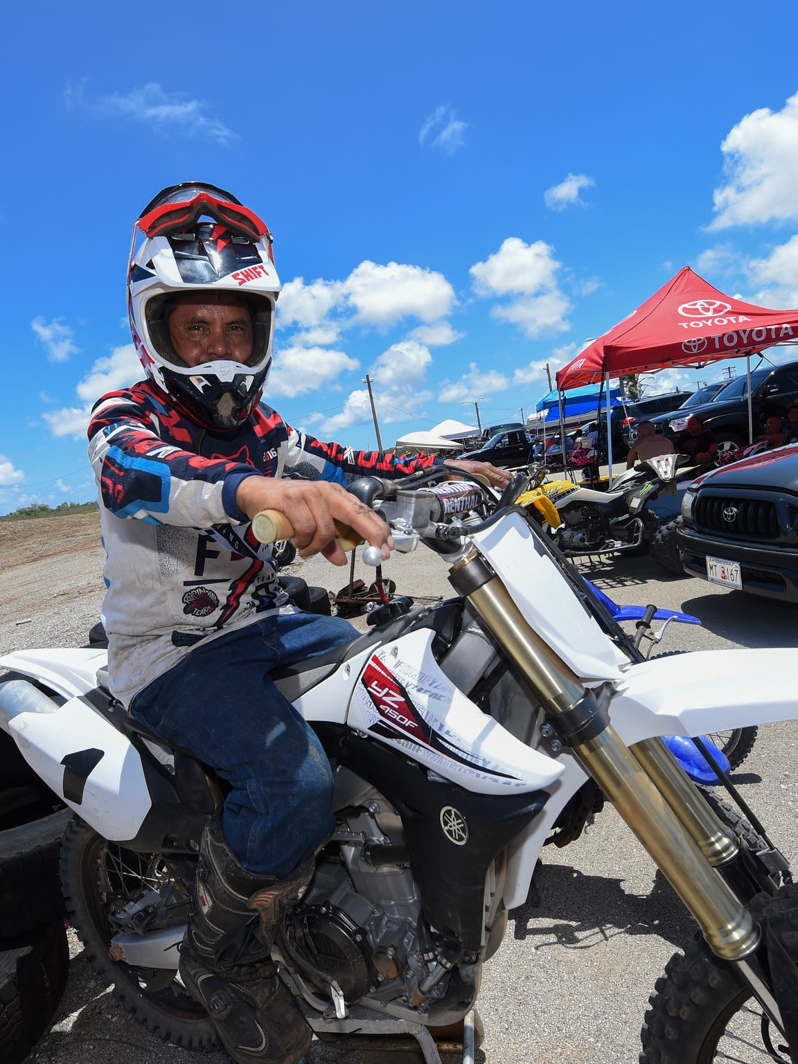 Motocross rider John Aguon, Sr., poses on his dirt bike during the Monster Energy 2016 Guam Motocross Championship at the Guam International Raceway in Yigo on June 12.