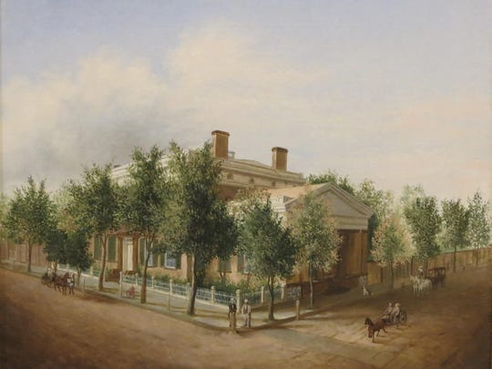 """Kingston National Bank Building,"" an oil on canvas circa 1842 by artist unknown, is part of the ""Treasures from the Collection: Celebrating 50 Years"" exhibit at the Friends of Historic Kingston Gallery in Kingston."