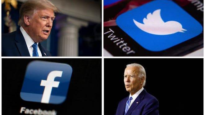 President Donald Trump accuses social media companies of favoring Joe Biden.