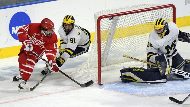 Boston University and Michigan clashed during the 2018 NCAA men's hockey regionals at the DCU Center.