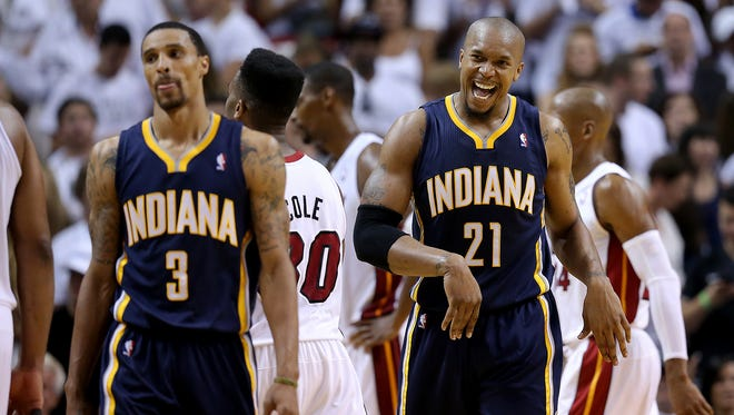 Pacers guard George Hill  and Pacers forward David West frustrated with the officiating in the finals minutes of the game Indiana Pacers play the Miami Heat in Game #4 of the NBA Eastern Conference Finals Monday, May 26, 2014, evening at American Airlines Arena in Miami FL.