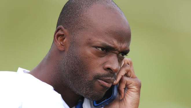 Indianapolis Colts Reggie Wayne talks a call before training camp Wednesday, July 30, 2014, afternoon in Anderson IN.