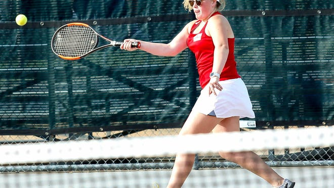 Glen Rose's Laney Whitefield and teammate T.J. Bradberry lost in a super-tiebreaker in mixed doubles on Tuesday versus Gatesville.