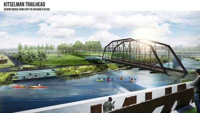 An artist's rendering of the proposed Kitselman Pure Energy Park on Muncie's east side, including a relocated Albany bridge for pedestrians.